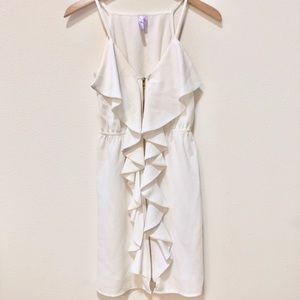 ALYA White Ruffle Gold Zip Dress - worn once
